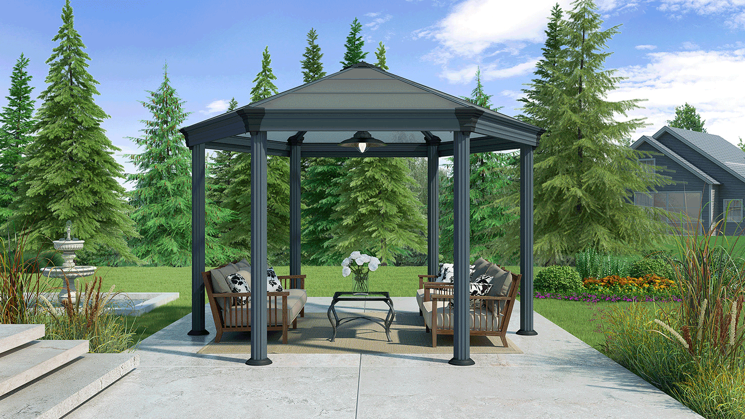 burlington garden gazebo the canopy shop. Black Bedroom Furniture Sets. Home Design Ideas